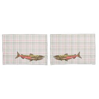 Pillowcases - Chinook Salmon on Plaid