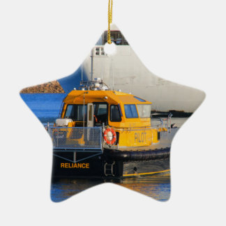 Pilot boat and cruise ship ceramic ornament