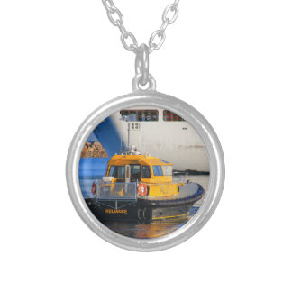 Pilot boat and cruise ship silver plated necklace