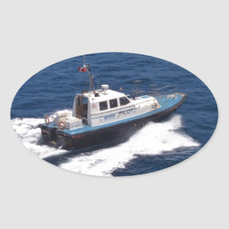 Pilot Boat At Speed Oval Sticker