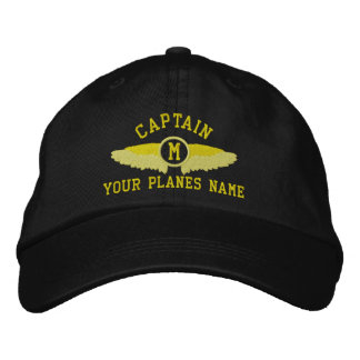 Pilot captains custom name and monogram embroidered hat