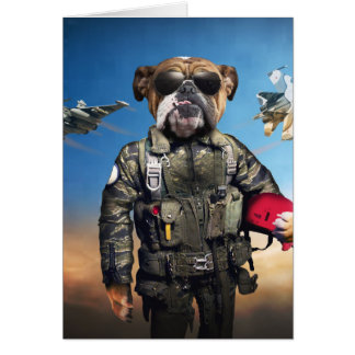 Pilot dog,funny bulldog,bulldog card