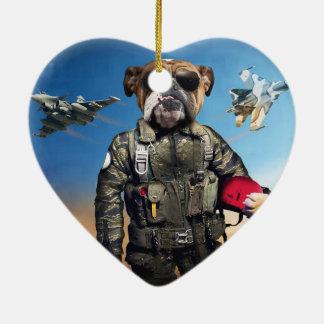 Pilot dog,funny bulldog,bulldog ceramic heart ornament