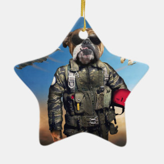 Pilot dog,funny bulldog,bulldog ceramic star ornament