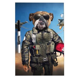 Pilot dog,funny bulldog,bulldog dry erase board