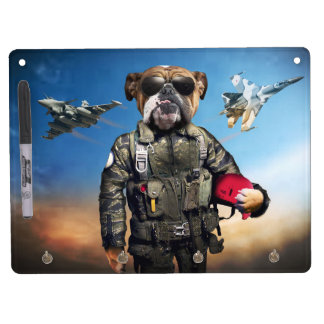 Pilot dog,funny bulldog,bulldog dry erase board with keychain holder