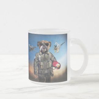 Pilot dog,funny bulldog,bulldog frosted glass coffee mug