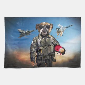 Pilot dog,funny bulldog,bulldog kitchen towel