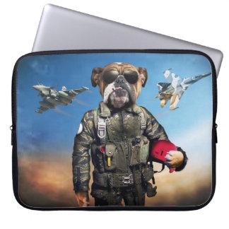 Pilot dog,funny bulldog,bulldog laptop computer sleeves