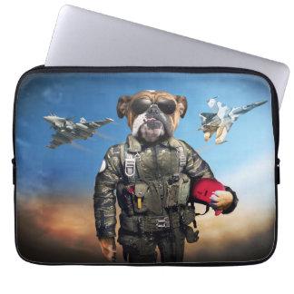 Pilot dog,funny bulldog,bulldog laptop sleeve
