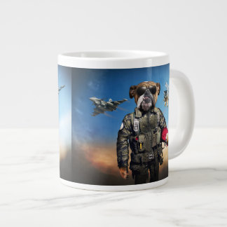 Pilot dog,funny bulldog,bulldog large coffee mug