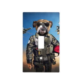 Pilot dog,funny bulldog,bulldog light switch cover