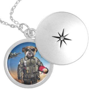 Pilot dog,funny bulldog,bulldog locket necklace