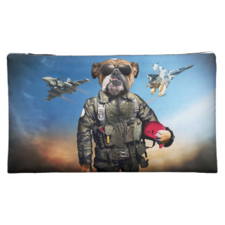 Pilot dog,funny bulldog,bulldog makeup bag