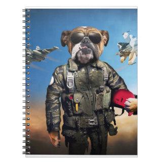 Pilot dog,funny bulldog,bulldog notebook