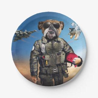Pilot dog,funny bulldog,bulldog paper plate