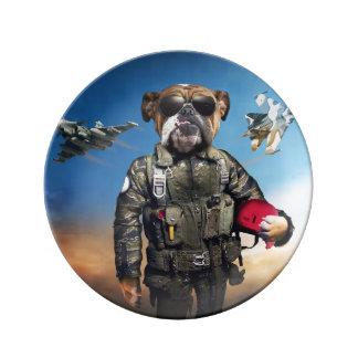 Pilot dog,funny bulldog,bulldog plate