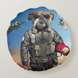 Pilot dog,funny bulldog,bulldog round pillow