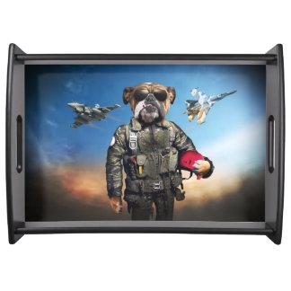 Pilot dog,funny bulldog,bulldog serving tray