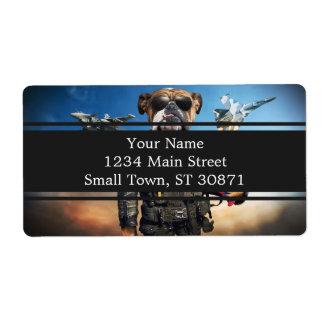 Pilot dog,funny bulldog,bulldog shipping label