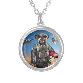 Pilot dog,funny bulldog,bulldog silver plated necklace