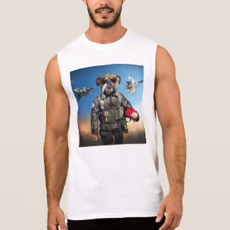 Pilot dog,funny bulldog,bulldog sleeveless shirt