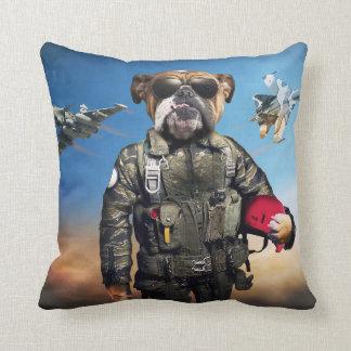 Pilot dog,funny bulldog,bulldog throw pillow