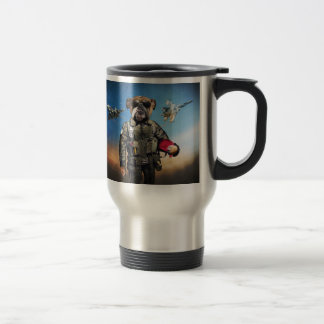 Pilot dog,funny bulldog,bulldog travel mug