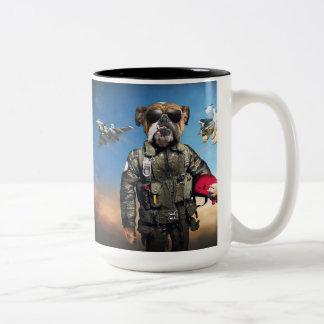 Pilot dog,funny bulldog,bulldog Two-Tone coffee mug