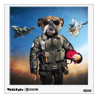 Pilot dog,funny bulldog,bulldog wall sticker