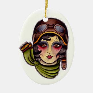Pilot girl ceramic ornament