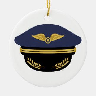 Pilot Hat Ceramic Ornament