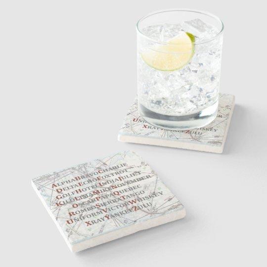 Pilot Home Gift, Aviation Alphabet Map Coaster Stone Beverage Coaster