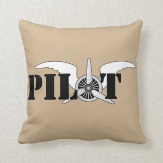 Pilot Wings With Propeller Aviation Theme Throw Pillow