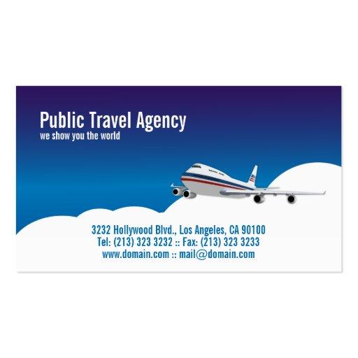Pilote ou agence de voyages cartes de visite personnelles