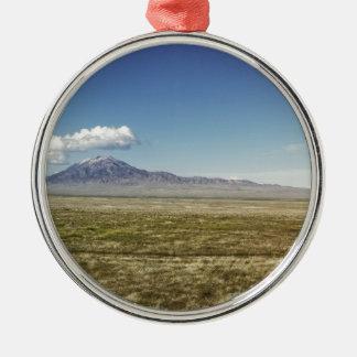 Pilot's Peak Panorama 1 Silver-Colored Round Ornament