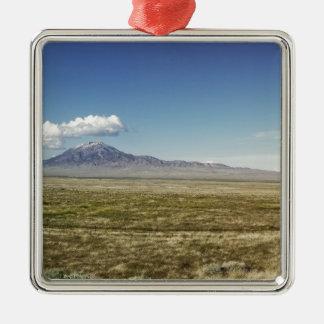 Pilot's Peak Panorama 1 Silver-Colored Square Ornament