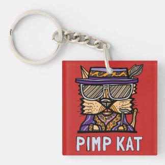 """Pimp Kat"" Square (double-sided) Keychain"