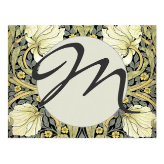 Pimpernel Yellow Monogram Floral Pattern Vintage Postcard