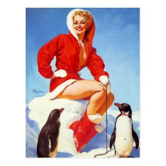 Pin- avec la carte postale de pingouins