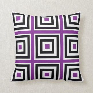 Pin, black and white square upon square throw pillow