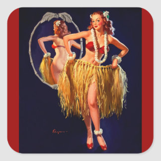 Pin hawaïen de danse polynésienne vintage de Gil Sticker Carré