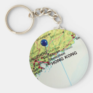 Pin Map of Hong Kong Basic Round Button Keychain