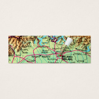 Pin Map of the city of Milan, Italy Mini Business Card