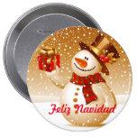 Pin Marionnette de neige Macaron Rond 10 Cm