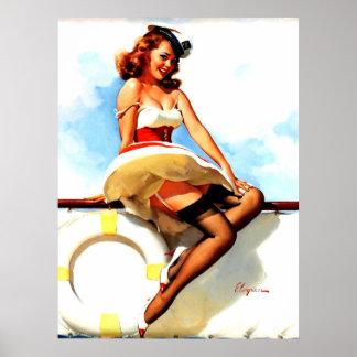 Pin nautique de marin vintage de Gil Elvgren vers  Posters