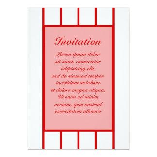 "Pin Stripe Red + Custom Color 5"" X 7"" Invitation Card"