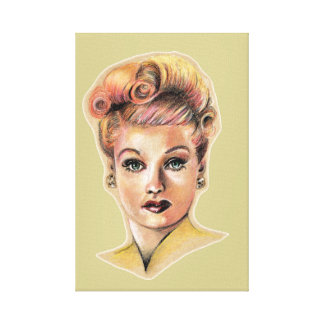 Pin-up beauty colored pencil drawing canvas print