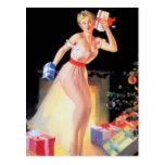 Pin-up de réveillon de Noël Cartes Postales