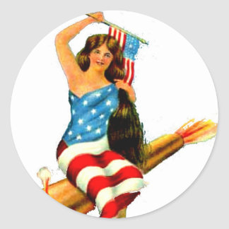 Pin Up Girl in Flag July 4th Vintage Postcard Art Classic Round Sticker